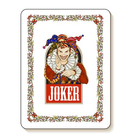 design costume: Joker playing card design. Men in joker costume. Colored illustration. Illustration
