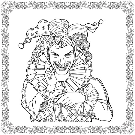 Joker with decorative fame in vintage style. Illustration