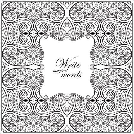 superscription: Ornamental pattern with decorative frame for text. Anti-stress relaxation Coloring book for adult and older children. Outline drawing coloring page.