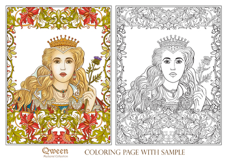 Queen on medieval floral pattern background. Coloring book for adult and older children. Outline drawing coloring page with colored sample.