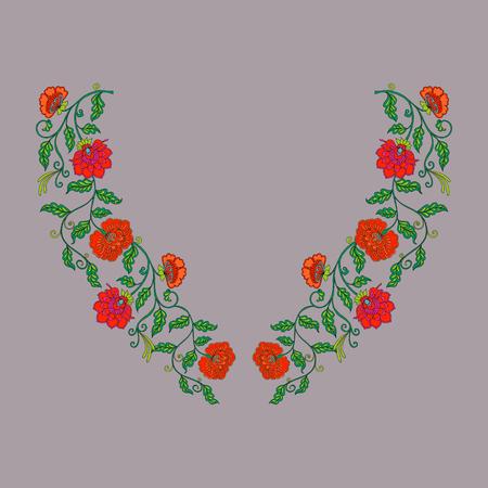 bordados: diseños de bordado línea de cuello con edades medias estampado de flores.