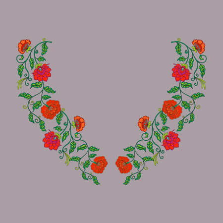 embroidery: Neck line embroidery designs with middle ages floral pattern.