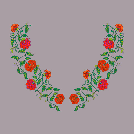 renaissance woman: Neck line embroidery designs with middle ages floral pattern.