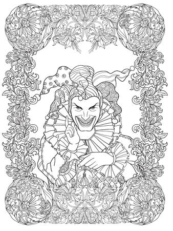 fame: Joker with decorative fame in vintage style. Illustration
