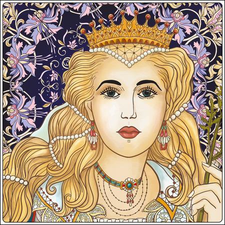 renaissance woman: Medieval Queen on floral background. Illustration
