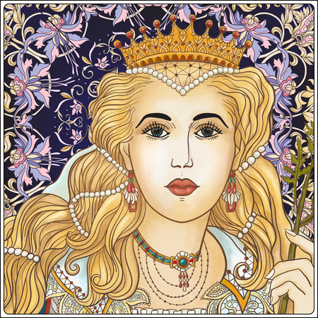 Medieval Queen on floral background. Illustration