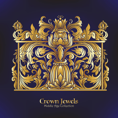 gold ornaments: Decorative elements in rococo, victorian, renaissance, baroque, royal style.
