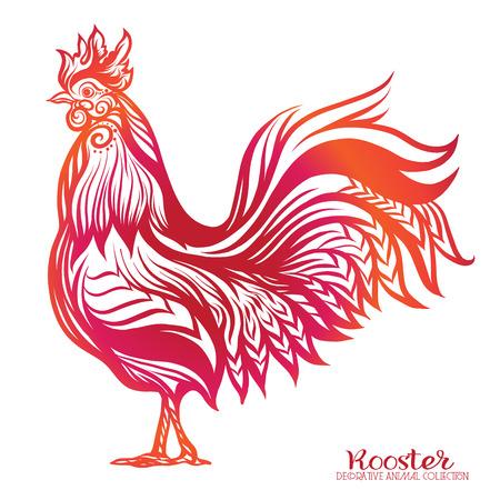 tatouage oiseau: Colored Coq. Nouvel an chinois 2017 Symbole du Nouvel An.