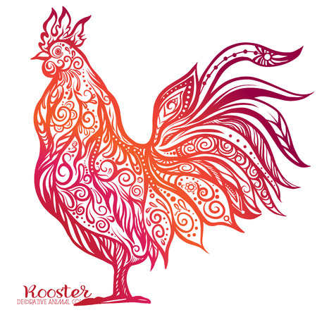 weave: Colored Rooster. Chinese New Year Symbol 2017 New Year.