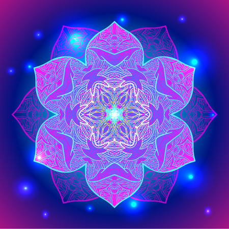 Mandala sacred geometry symbol in neon colors.