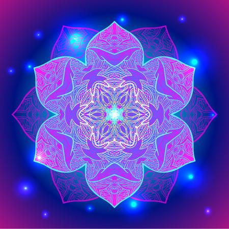 Mandala sacred geometry symbol in neon colors.