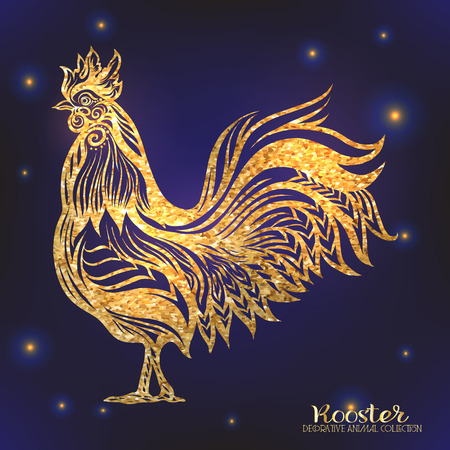 Rooster. Chinese New Year Symbol 2017 New Year. Gold on black background