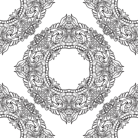 Seamless pattern in rococo style, victorian style, in renaissance style, in baroque style. Çizim