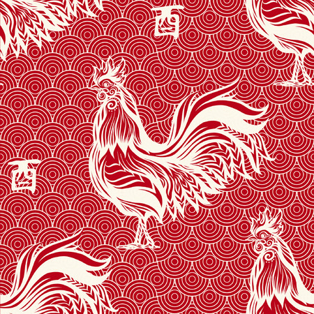 Seamless pattern with decorative Rooster in chinese style. Chinese New Year Symbol of 2017 New Year. Çizim