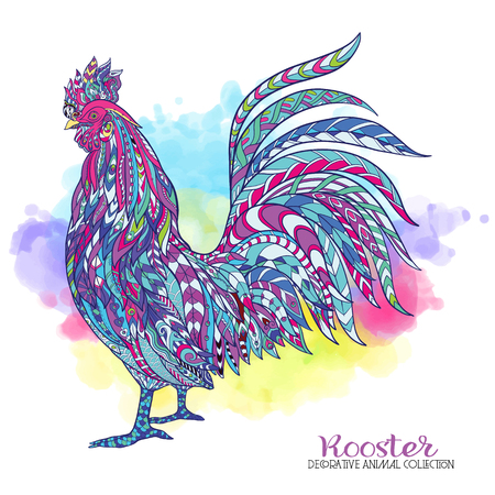 Rooster. Chinese New Year Symbol 2017 New Year.  Decorative stiyle, colored illustration. %u043E%u0442 watercolor background.