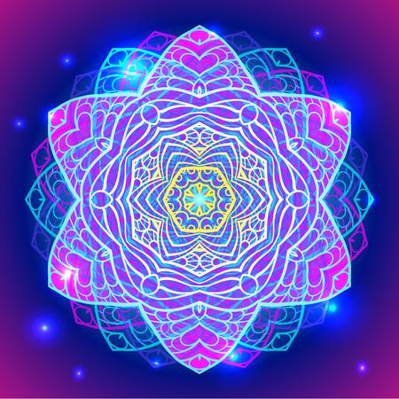 Mandala simbolo geometria sacra in colori al neon.