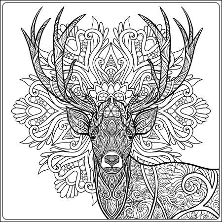 사슴 옴 배경 만 색된와 색칠 페이지입니다. 성인 및 노약자를위한 색칠하기 책.