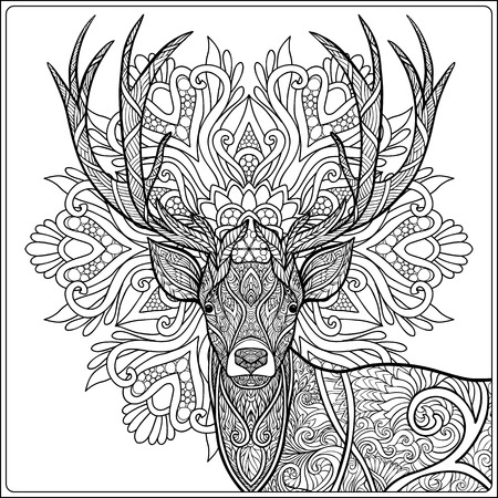Coloring page with deer om mandala background. Coloring book for adult and older children.