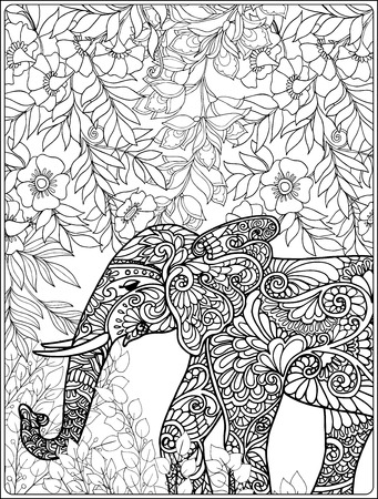 Coloring page with elephant in forest. Coloring book for adult and older children.
