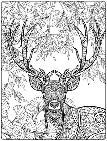 사슴 포리스트의 채색 페이지입니다. 성인 및 노약자를위한 색칠하기 책.