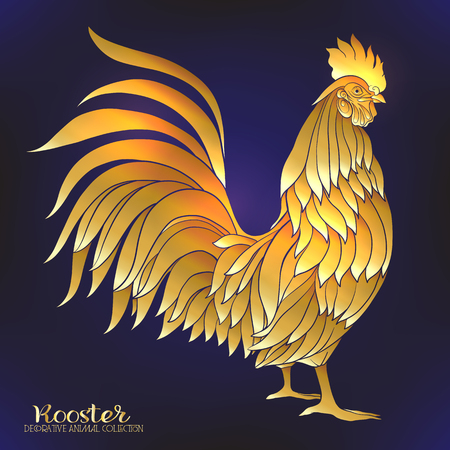 chinese astrology: Rooster. Chinese New Year Symbol 2017 New Year. Gold on black background illustration.