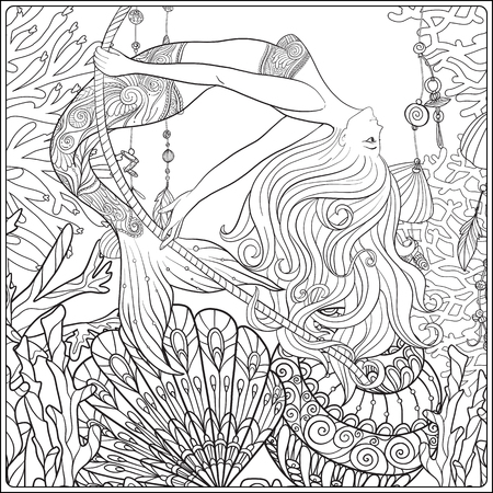 Hand drawn mermaid swinging on rope in underwater world.