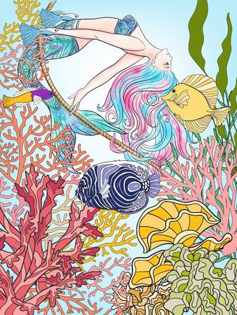 Dibujado a mano de la sirena balanceándose en la cuerda en el mundo submarino.