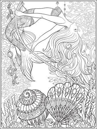 Hand drawn mermaid swinging on rope in underwater world.
