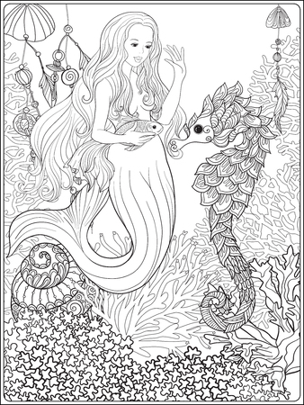 gold fish: Hand drawn mermaid with gold fish in underwater world. Illustration
