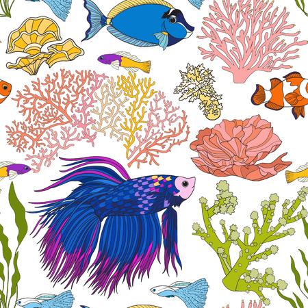 school of fish: Seamless pattern with decorative corals and sea or aquarium fish. Illustration