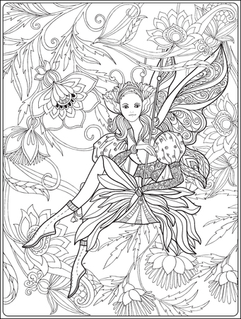 Fairy with butterfly wings on swing on medieval floral pattern background.