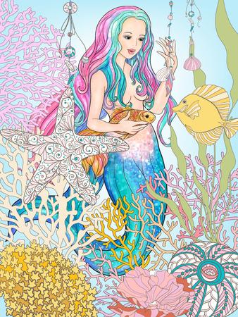 Hand drawn mermaid with gold fish in underwater world. Illusztráció