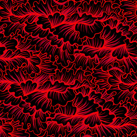Asian Japanese tradition seamless pattern in red colors %u043E%u0442 black background.