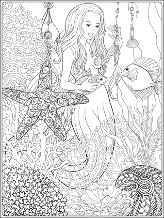 Hand drawn mermaid with gold fish in underwater world. 向量圖像