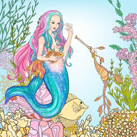 Dibujado a mano de la sirena con los pescados del oro en el mundo submarino. Ilustración de vector
