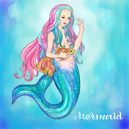 Hand drawn mermaid holding a gold fish, on watercolor background, linen color Illustration
