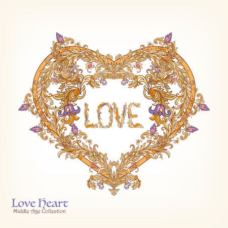 rococo: Decorative Love Heart in rococo, victorian, renaissance, baroque, royal style. Good for greeting card for birthday, invitation or banner. Illustration