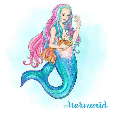 Hand drawn mermaid holding a gold fish, on watercolor background