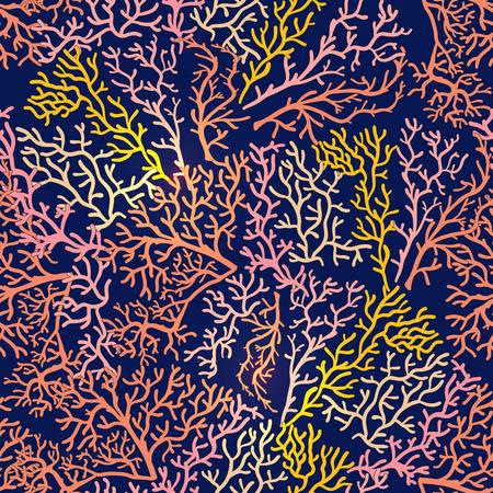 Naadloos patroon met decoratieve koralen en zee of aquariumvissen.