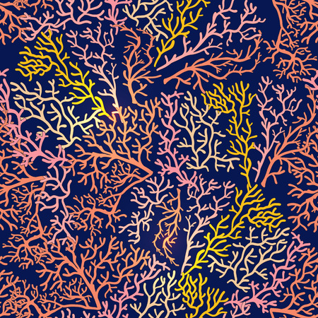 Seamless pattern with decorative corals and sea or aquarium fish. Ilustracja
