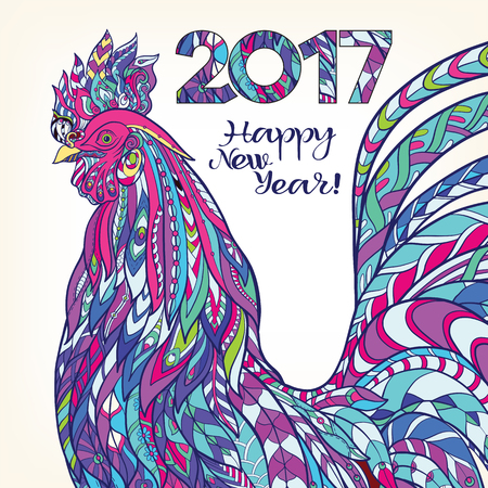 lunar: Decorative colored Rooster. Chinese New Year Symbol 2017 New Year.