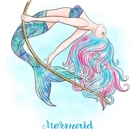 Hand drawn mermaid swinging on a rope, on watercolor background, linen color