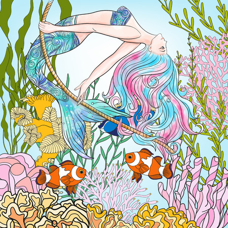 naiad: Hand drawn mermaid swinging on rope in underwater world.