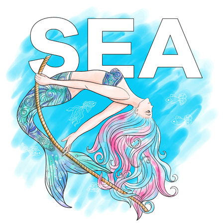 Hand drawn mermaid swinging on a rope with wor%u0432 sea, on watercolor background, linen color illustration.