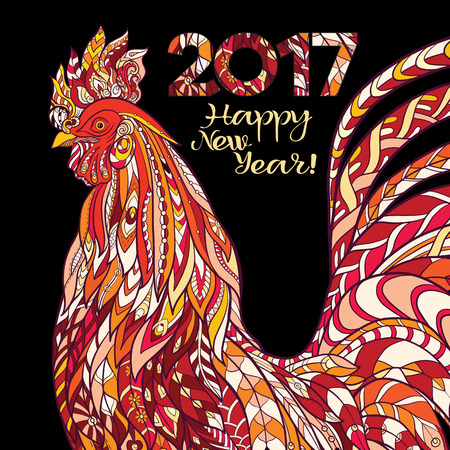 weave: Decorative colored Rooster. Chinese New Year Symbol 2017 New Year.