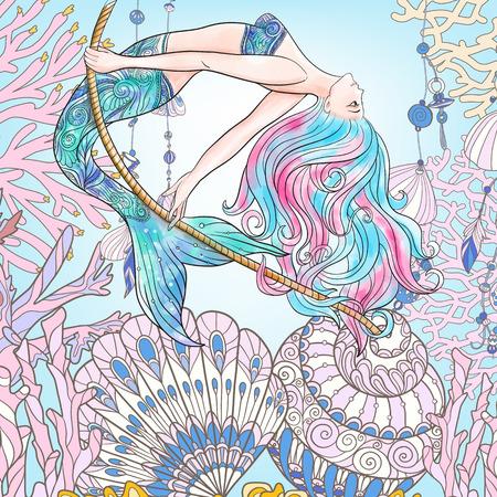 adult mermaid: Hand drawn mermaid swinging on rope in underwater world.