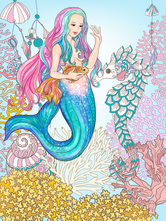 Hand drawn mermaid with gold fish in underwater world. Illustration
