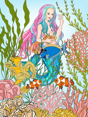 手は、水中の世界で金の魚と人魚を描いた。  イラスト・ベクター素材