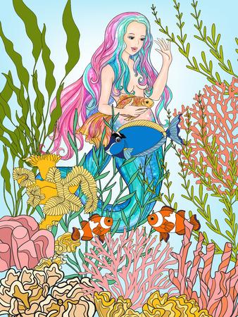 naiad: Hand drawn mermaid with gold fish in underwater world. Illustration