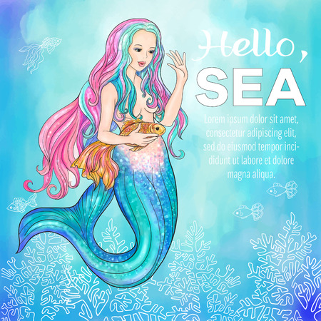 Hand drawn mermaid holding a gold fish, on watercolor background, linen color illustration.